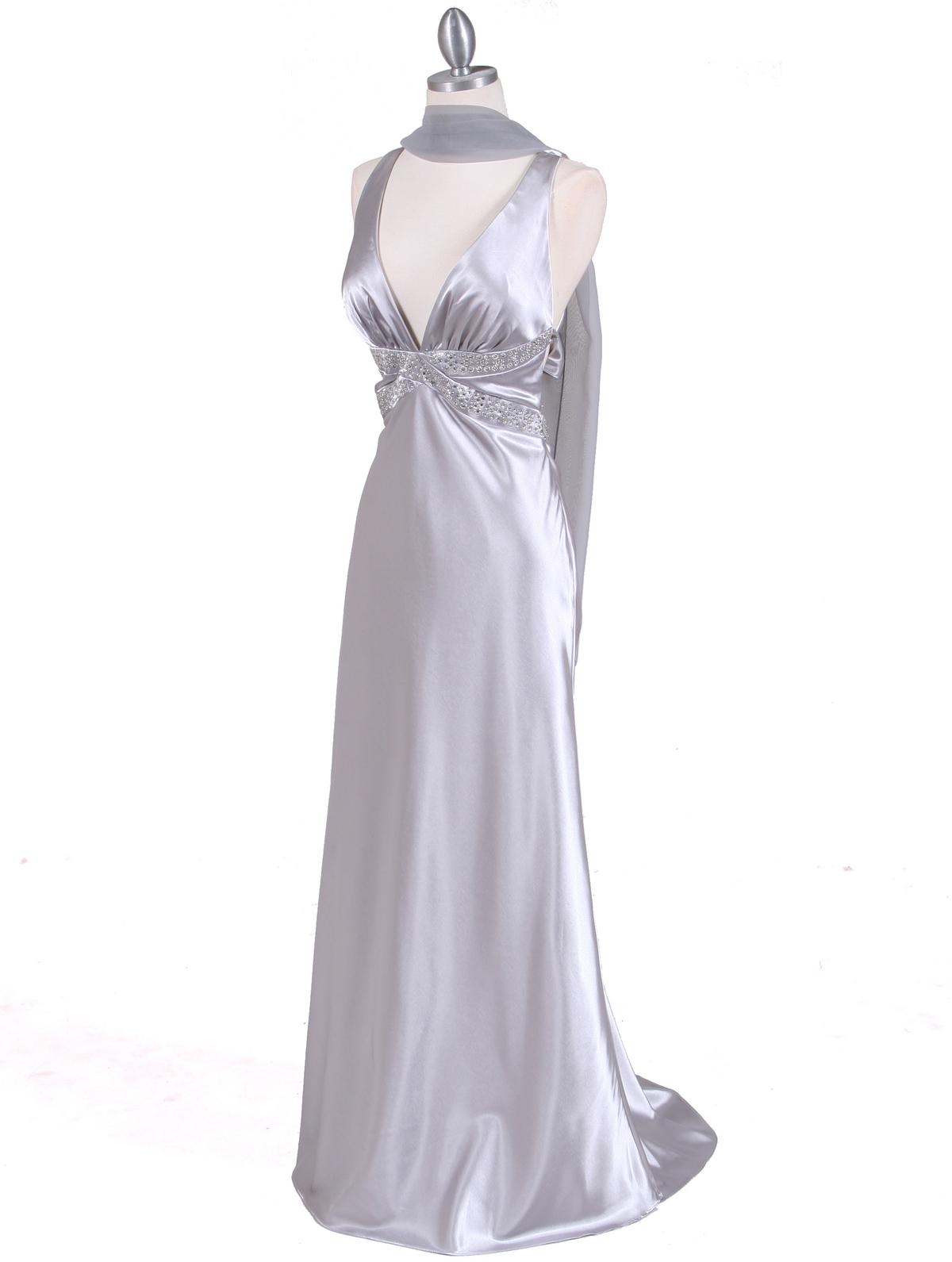 Silver Satin Evening Dress Sung Boutique L A