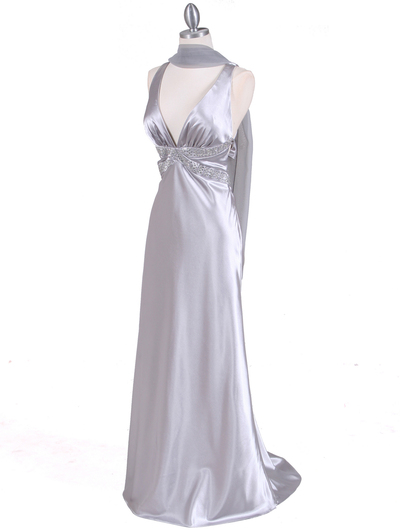 7120 Silver Satin Evening Dress - Silver, Alt View Medium