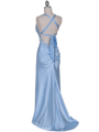 7120 Baby Blue Satin Evening Dress - Baby Blue, Back View Thumbnail