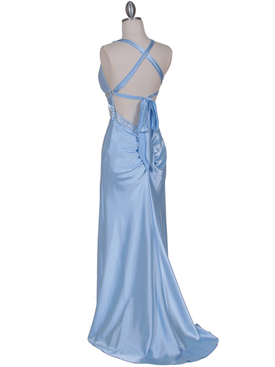 7120 Baby Blue Satin Evening Dress - Baby Blue, Back View Medium