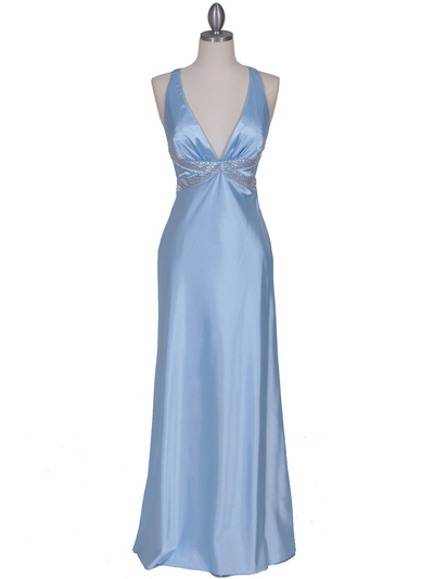 7120 Baby Blue Satin Evening Dress - Baby Blue, Front View Medium
