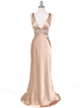 Gold Satin Evening Dress - Front Image