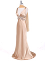 Gold Satin Evening Dress - Alt Image