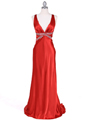 7120 Orange Satin Evening Dress - Orange, Front View Thumbnail