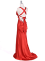 7120 Orange Satin Evening Dress - Orange, Back View Thumbnail