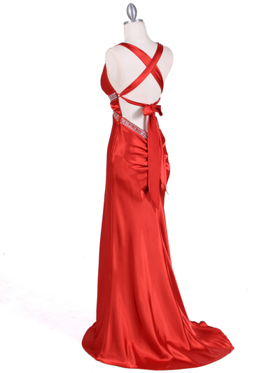 7120 Orange Satin Evening Dress - Orange, Back View Medium