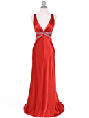 7120 Orange Satin Evening Dress, Orange