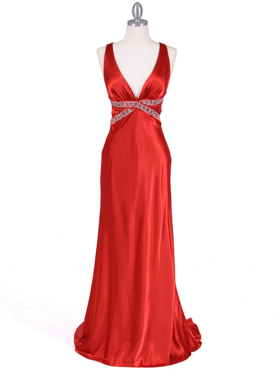 7120 Orange Satin Evening Dress - Orange, Front View Medium