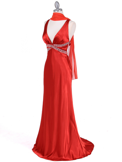 7120 Orange Satin Evening Dress - Orange, Alt View Medium