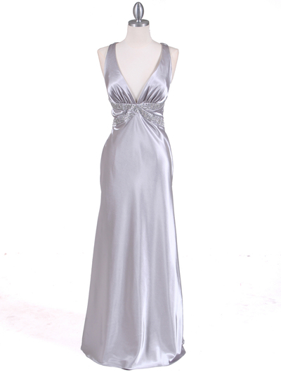 7120 Silver Satin Evening Dress - Silver, Front View Medium