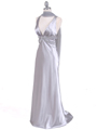 Silver Satin Evening Dress