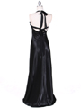 Black Satin Evening Gown - Back Image