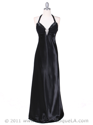 Black Satin Evening Gown - Front Image