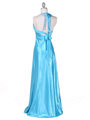 7121 Turquoise Satin Evening Gown - Turquoise, Back View Thumbnail