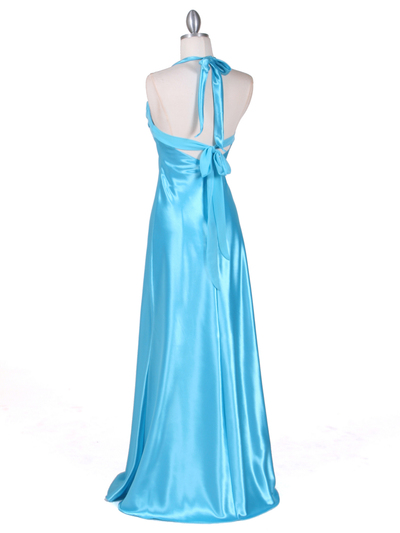 7121 Turquoise Satin Evening Gown - Turquoise, Back View Medium