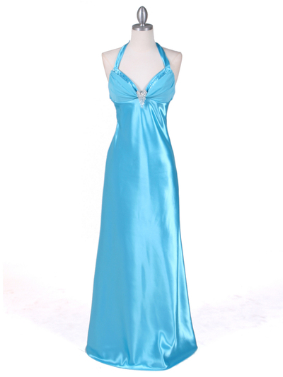 7121 Turquoise Satin Evening Gown - Turquoise, Front View Medium