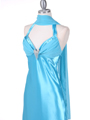 Turquoise Satin Evening Gown