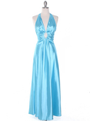 Aqua Satin Halter Evening Dress