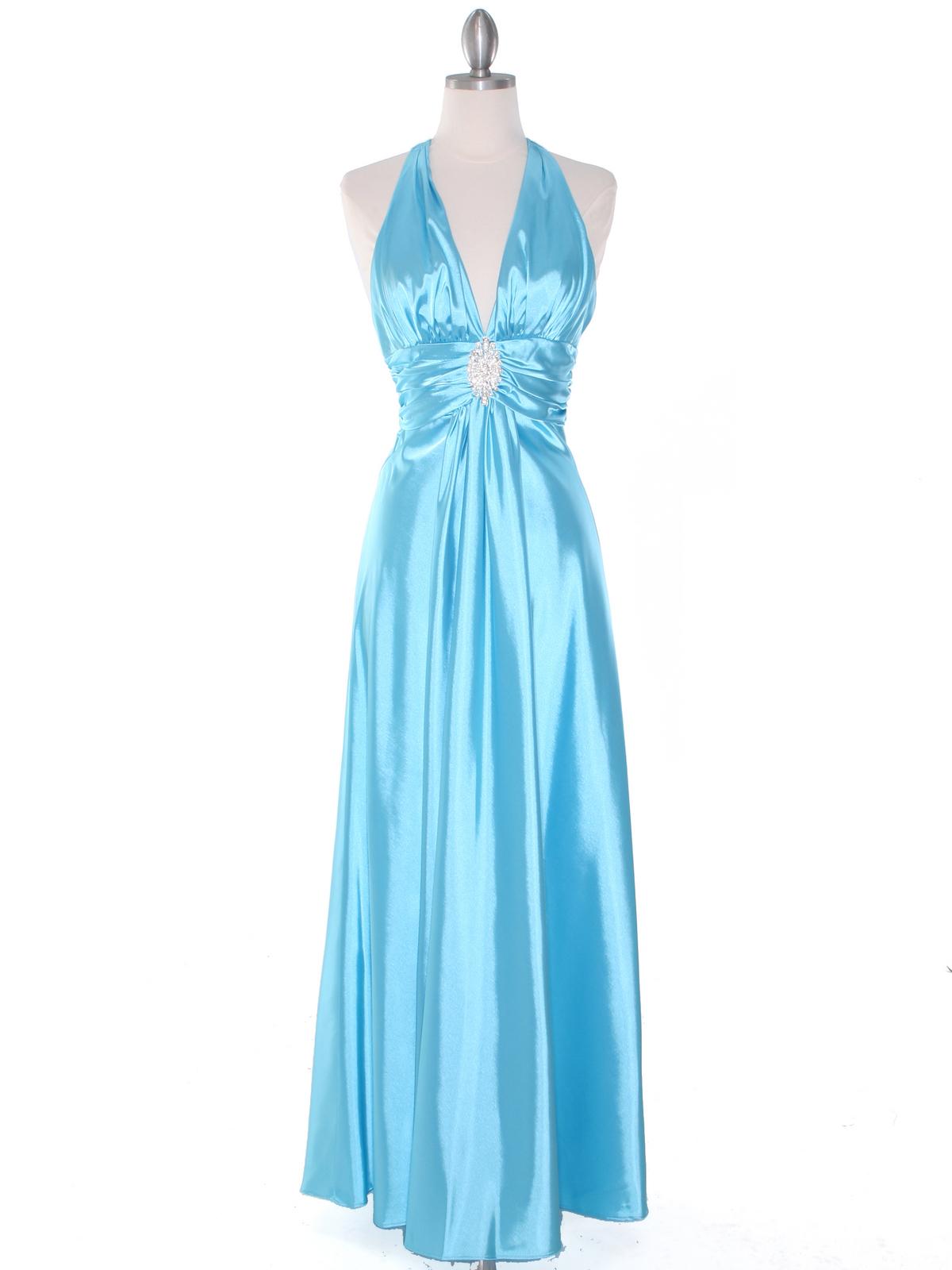 Aqua Satin Halter Evening Dress | Sung Boutique L.A.