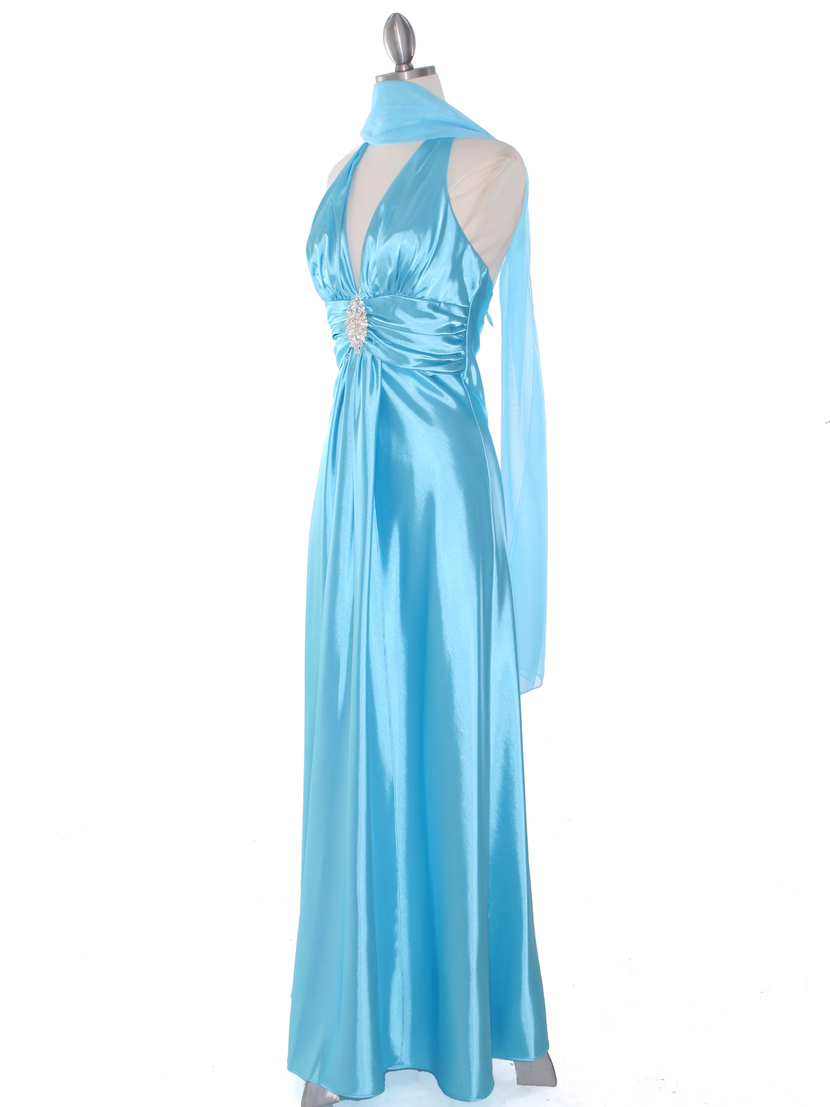 Aqua Satin Halter Evening Dress Sung Boutique L A