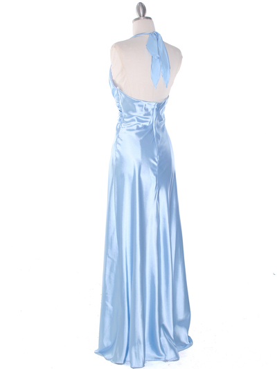 7122 Baby Blue Satin Halter Evening Gown - Baby Blue, Back View Medium