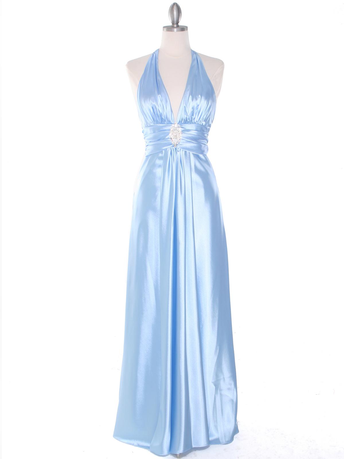 Baby Blue Satin Halter Evening Gown