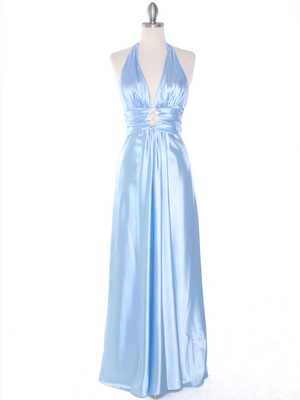 7122 Baby Blue Satin Halter Evening Gown, Baby Blue