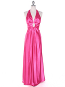 Hot Pink Satin Halter Prom Dress