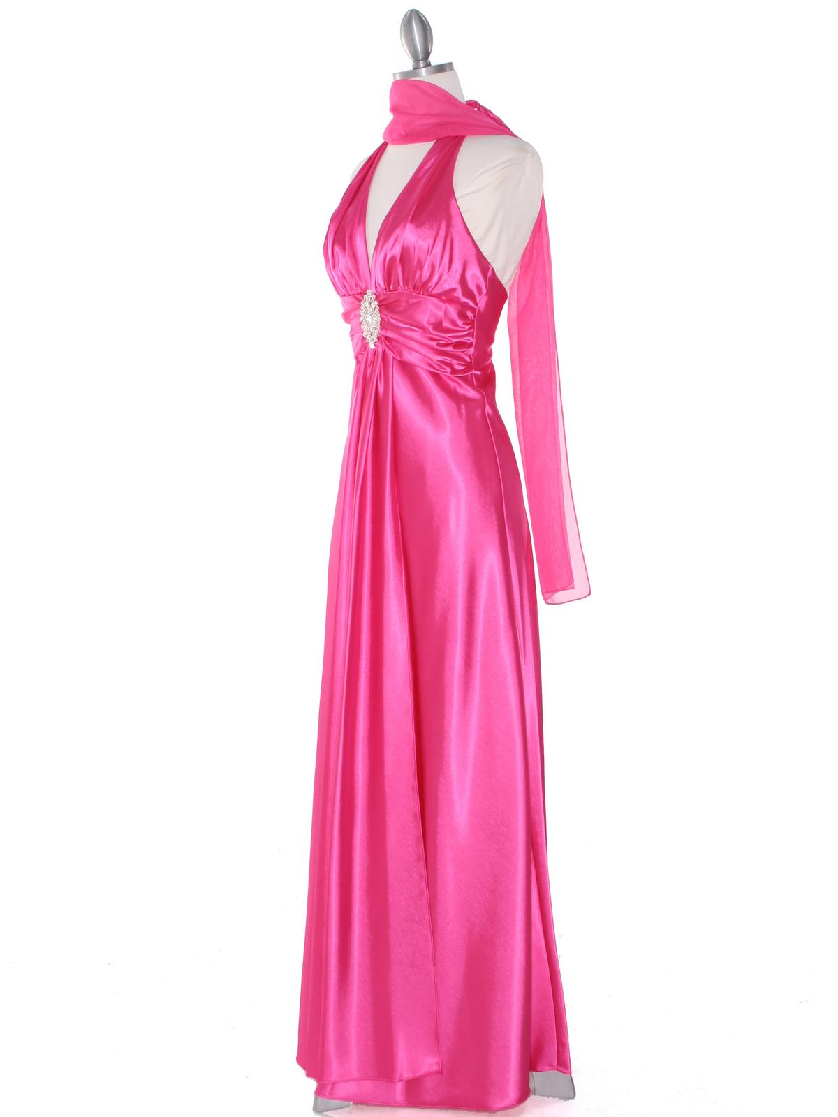 Hot Pink Satin Halter Prom Dress Sung Boutique L A
