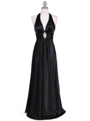 Black Satin Halter Evening Gown
