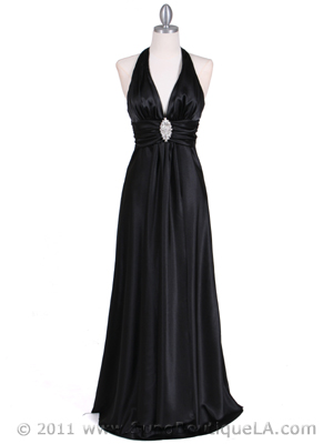 Black Satin Halter Evening Gown - Front Image