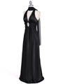 Black Satin Halter Evening Gown - Alt Image