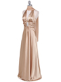 Gold Satin Halter Evening Gown