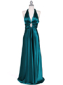 7122 Green Satin Halter Evening Gown