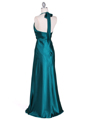 7122 Green Satin Halter Evening Gown - Green, Back View Thumbnail