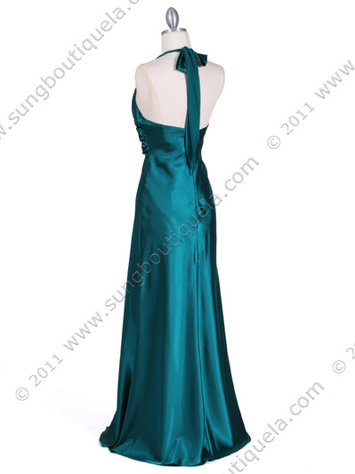 7122 Green Satin Halter Evening Gown - Green, Back View Medium
