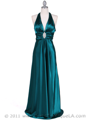 7122 Green Satin Halter Evening Gown, Green