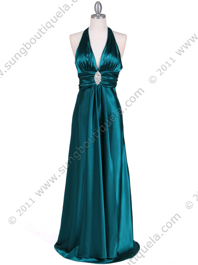 7122 Green Satin Halter Evening Gown - Green, Front View Medium