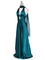 Green Satin Halter Evening Gown