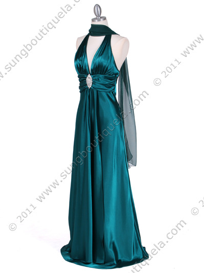 7122 Green Satin Halter Evening Gown - Green, Alt View Medium