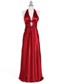 7122 Red Satin Halter Evening Gown - Red, Front View Thumbnail