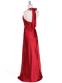 7122 Red Satin Halter Evening Gown - Red, Back View Thumbnail