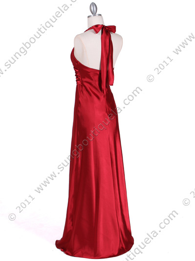7122 Red Satin Halter Evening Gown - Red, Back View Medium