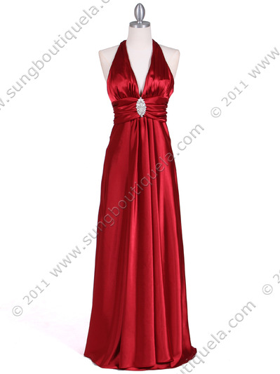 7122 Red Satin Halter Evening Gown - Red, Front View Medium