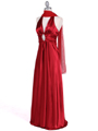 7122 Red Satin Halter Evening Gown - Red, Alt View Thumbnail