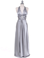 7122 Silver Satin Halter Evening Gown - Silver, Front View Thumbnail