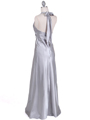 7122 Silver Satin Halter Evening Gown - Silver, Back View Thumbnail
