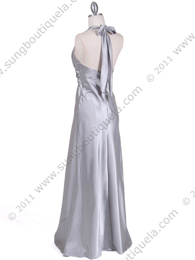7122 Silver Satin Halter Evening Gown - Silver, Back View Medium