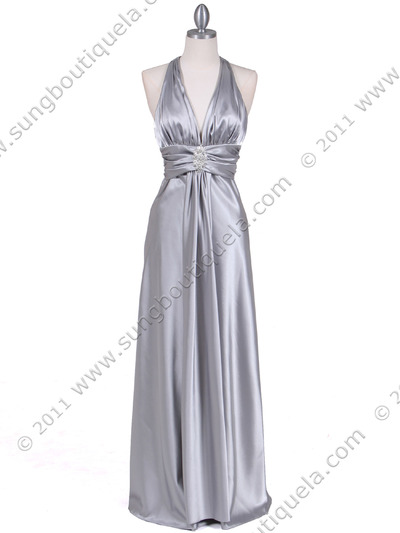7122 Silver Satin Halter Evening Gown - Silver, Front View Medium