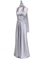 Silver Satin Halter Evening Gown